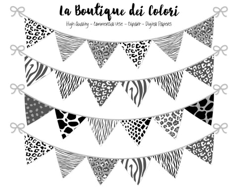 Black and White Animal Prints Bunting Banner Clipart - La Boutique Dei Colori