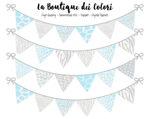 Blue and Grey Animal Prints Bunting Banner Clipart - La Boutique Dei Colori