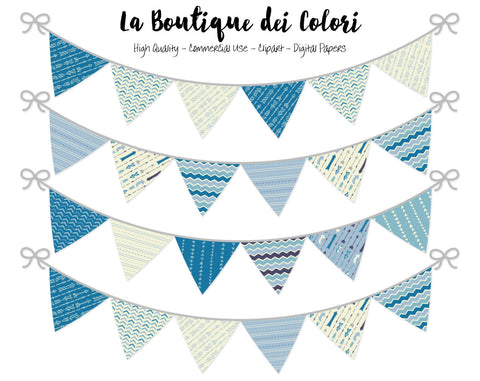 Blue Arrows Bunting Banner Clipart - La Boutique Dei Colori