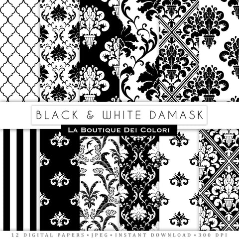 Black Damask Digital Paper - La Boutique Dei Colori