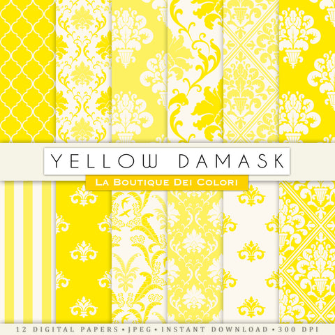 Yellow Damask Digital Paper - La Boutique Dei Colori