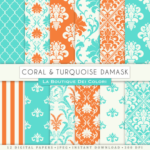 Coral and Turquoise Damask Digital Paper - La Boutique Dei Colori