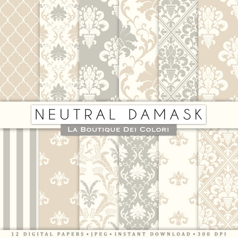 Neutral Damask Digital Paper - La Boutique Dei Colori