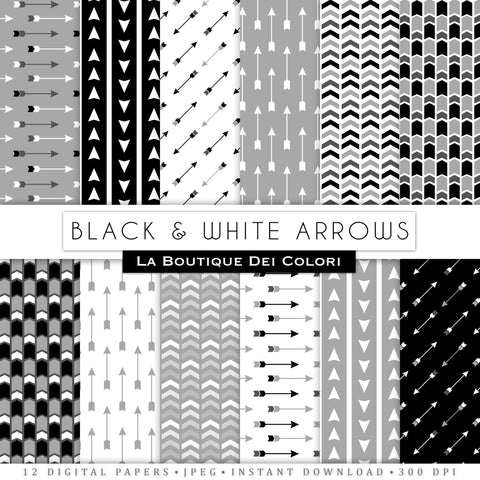 Black and White Arrows Digital Paper - La Boutique Dei Colori