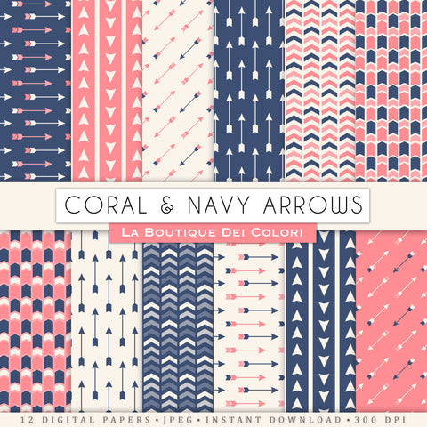 Coral and Navy Arrows Digital Paper - La Boutique Dei Colori