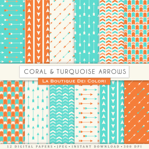 Coral and Turquoise Arrows Digital Paper - La Boutique Dei Colori