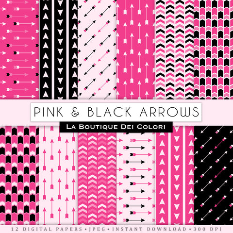 Pink and Black Arrows Digital Paper - La Boutique Dei Colori