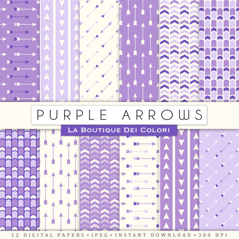 Purple Arrows Digital Paper - La Boutique Dei Colori