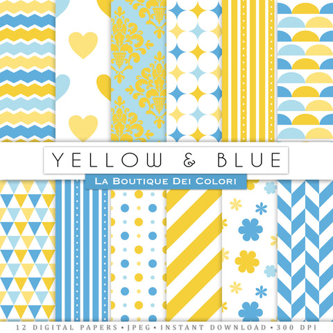 Blue and Yellow Digital Paper - La Boutique Dei Colori