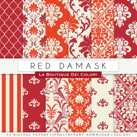 Red Damask Digital Paper - La Boutique Dei Colori
