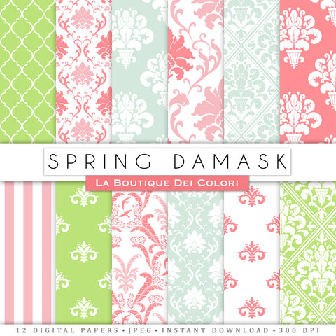 Spring Damask Digital Paper - La Boutique Dei Colori