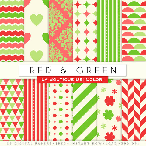 Red and Green Digital Paper - La Boutique Dei Colori