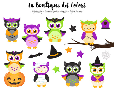 Halloween Owls Clipart - La Boutique Dei Colori