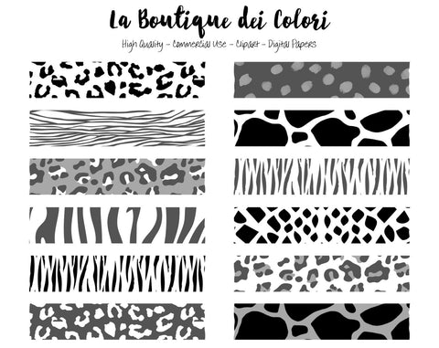 Black and White Animal Print Washi Tape Clipart - La Boutique Dei Colori