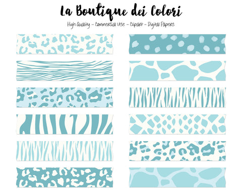 Baby Blue Animal Print Washi Tape Clipart - La Boutique Dei Colori