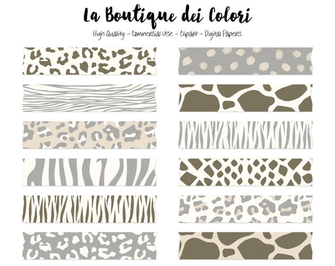 Neutral Animal Print Washi Tape Clipart - La Boutique Dei Colori