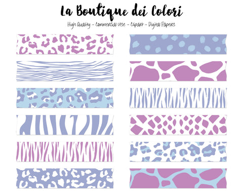 Purple and Blue Animal Prints Washi Tape Clipart - La Boutique Dei Colori
