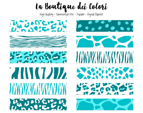 Teal Blue Animal Prints Washi Tape Clipart - La Boutique Dei Colori