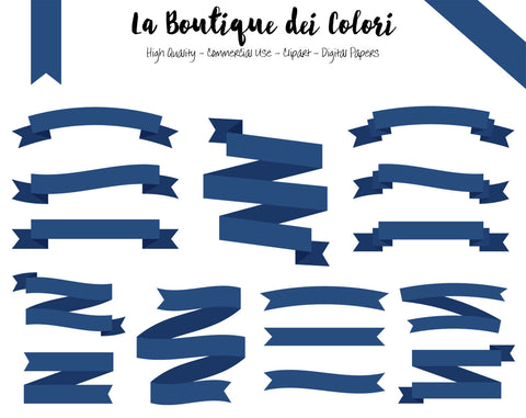Navy Blue Ribbon Banner Clipart - La Boutique Dei Colori