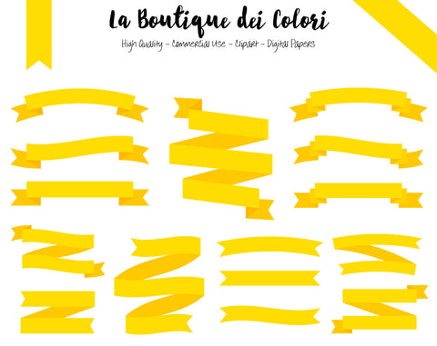 Yellow Ribbon Banner Clipart - La Boutique Dei Colori