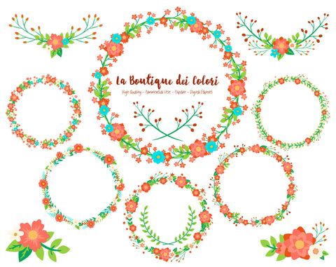 Christmas Flower Wreath Clipart - La Boutique Dei Colori