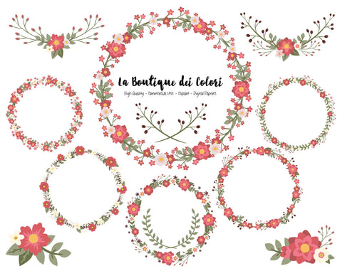 Red Flower Wreath Clipart - La Boutique Dei Colori