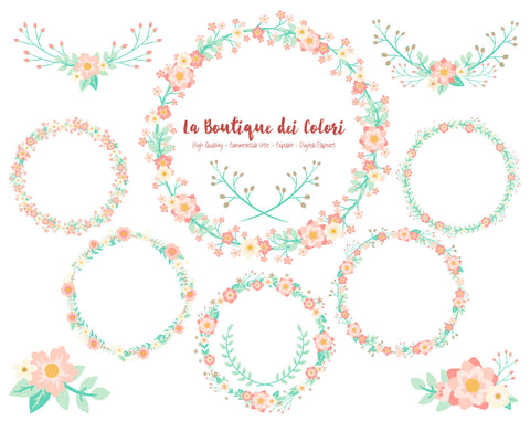 Pink and Mint Flower Wreath Clipart - La Boutique Dei Colori
