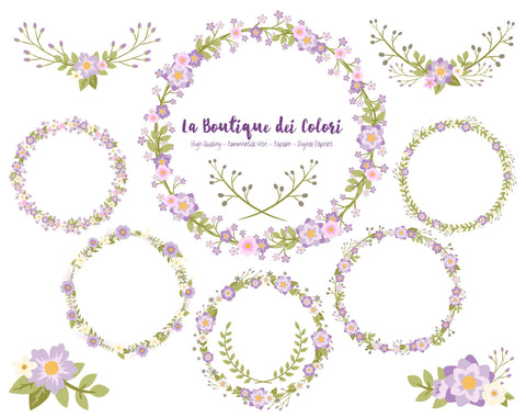 Purple Flower Wreath Clipart - La Boutique Dei Colori