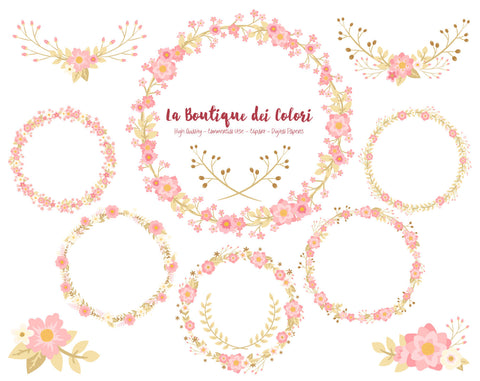 Pink and Gold Flower Wreath Clipart - La Boutique Dei Colori