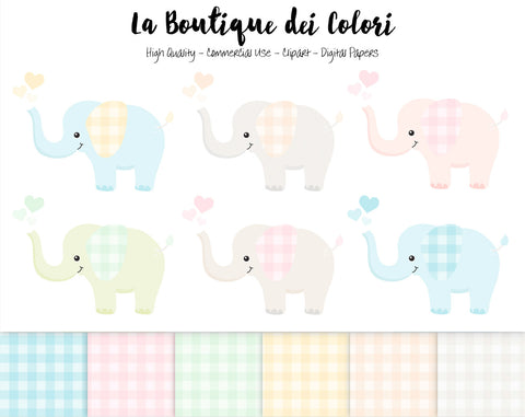 Cute Baby Elephants Clipart - La Boutique Dei Colori