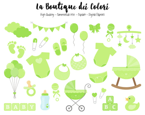 Green Baby Shower Clipart - La Boutique Dei Colori