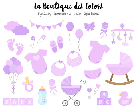 Purple Baby Girl Clipart - La Boutique Dei Colori