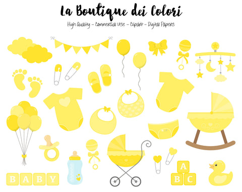 Yellow Baby Shower Clipart - La Boutique Dei Colori