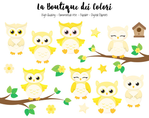 Yellow Baby Owls Clipart - La Boutique Dei Colori