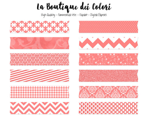Coral Red Washi Tape Clipart - La Boutique Dei Colori