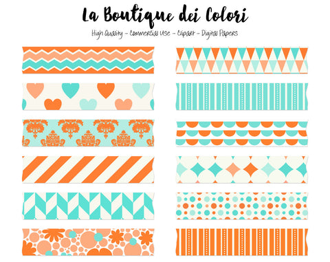 Coral and Turquoise Washi Tape Clipart - La Boutique Dei Colori