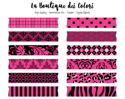 Hot Pink and Black Washi Tape Clipart - La Boutique Dei Colori