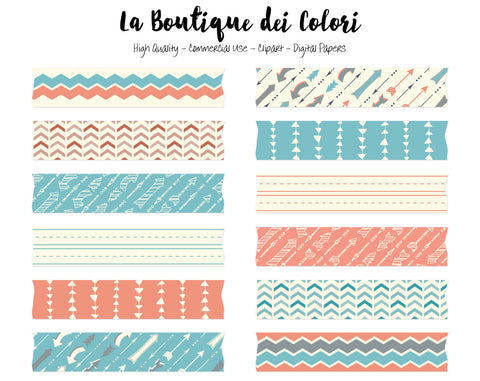 Coral and Turquoise Arrows Washi Tape Clipart - La Boutique Dei Colori