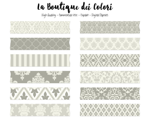 Ivory Damask Washi Tape Clipart - La Boutique Dei Colori