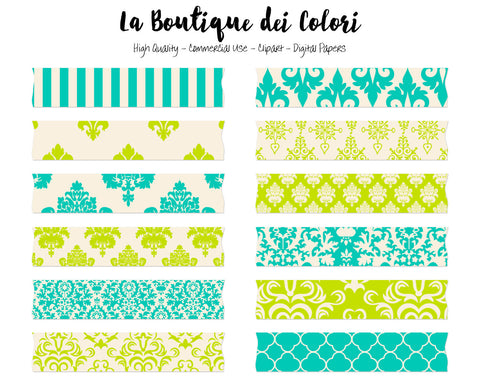 Green Damask Washi Tape Clipart - La Boutique Dei Colori