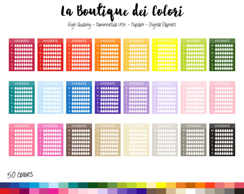 Weekly Hydrate Planner Clipart - La Boutique Dei Colori