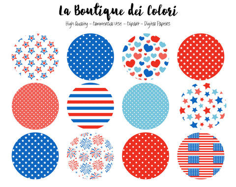 4th of July Circles Clipart - La Boutique Dei Colori