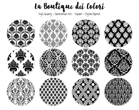 Black and White Damask Circles Clipart - La Boutique Dei Colori