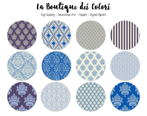 Blue Damask Circles Clipart - La Boutique Dei Colori