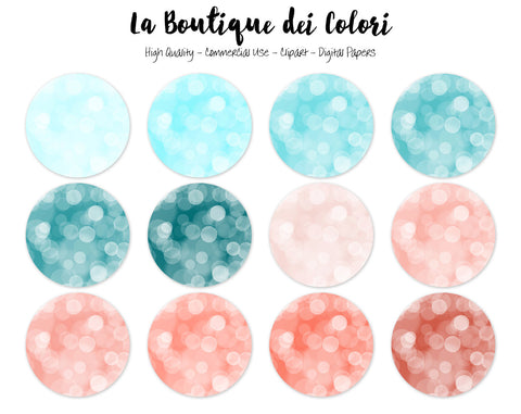Coral and Teal Bokeh Circles Clipart - La Boutique Dei Colori