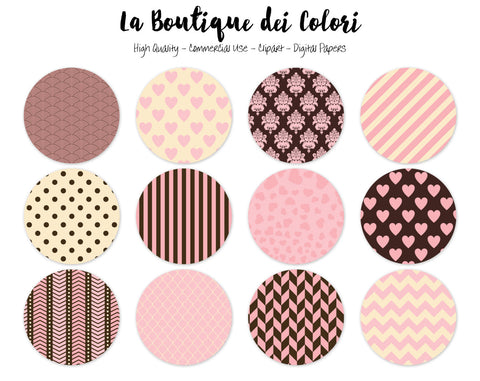 Pink and Brown Circles Clipart - La Boutique Dei Colori