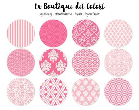Cute Pink Damask Circles Clipart - La Boutique Dei Colori