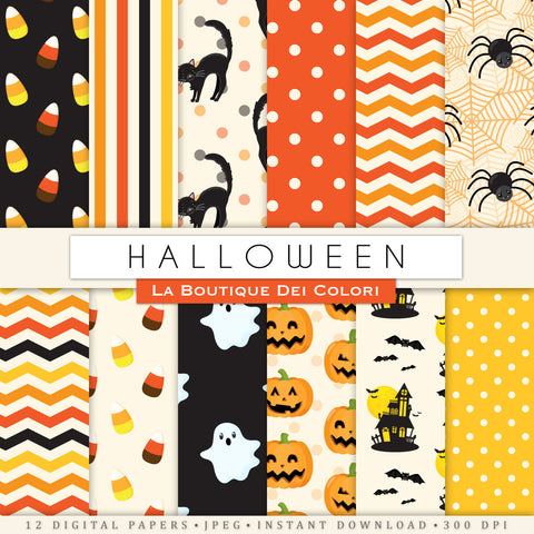 Orange and Black Halloween Digital Paper - La Boutique Dei Colori