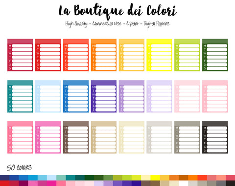 Weekly To Do Planner Clipart - La Boutique Dei Colori