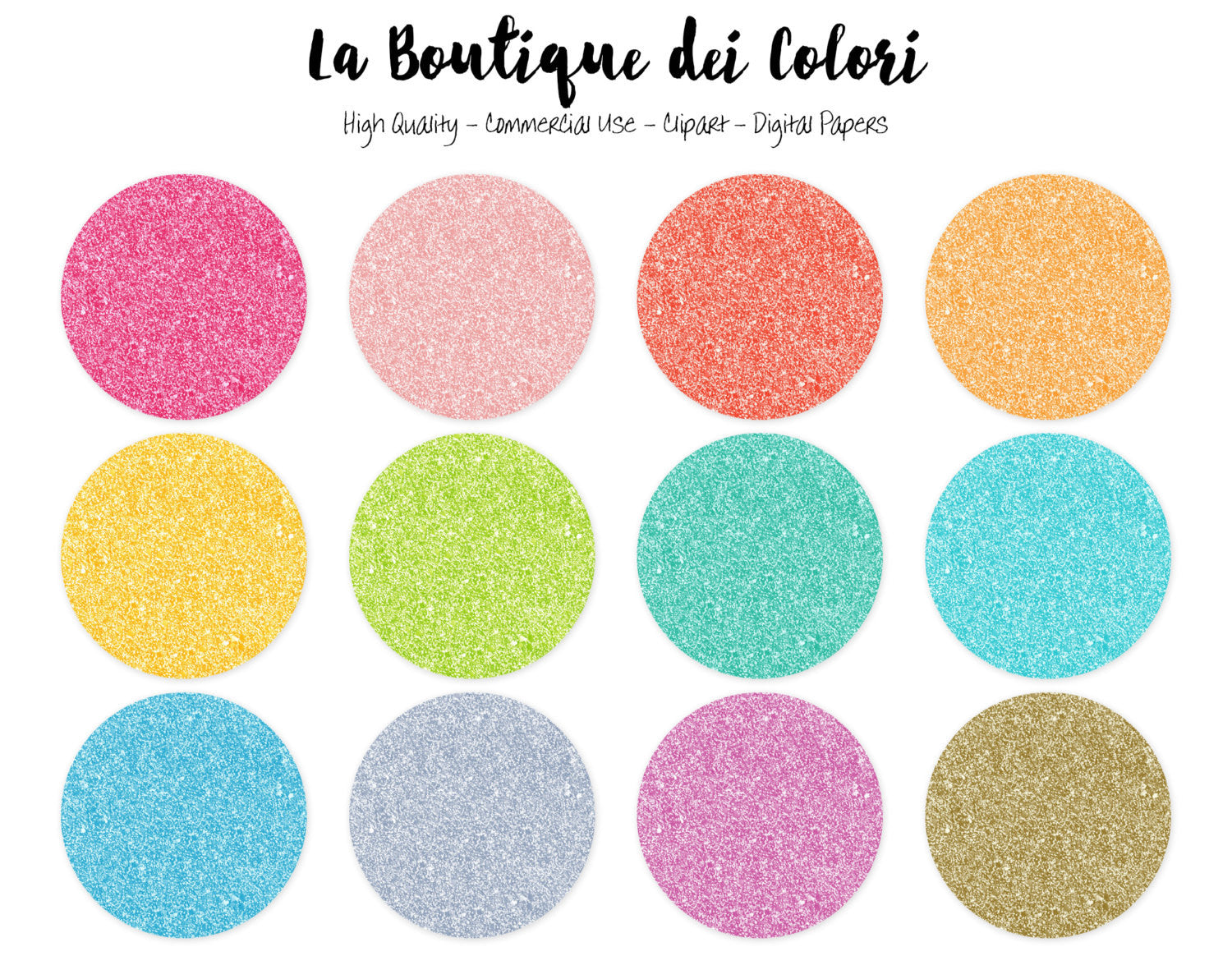 colorful glitter circles clipart la boutique dei colori